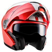 FLIP-UP Modular MOTORCYCLE Motorbike BIKE Scooter Moto F19 R. RED XS - XL ECE
