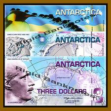 Antarctica 1 2 3 Dollars Set, 2007 Polymer Unc