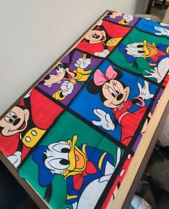 Vtg Disney Twin Flat Sheet Mickey Mouse Minnie Mouse Daffy Duck Goofy COLORFUL