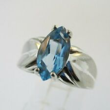 Topaz Ring Size 7 Sterling Silver Marquise Cut Blue