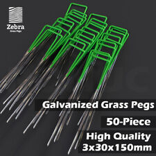 50pcs Grass Pegs Lawn Turf Weed Mat U Pins Stakes Steel Staples Anchor Lawn Sod