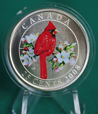 2008 CANADA 25 cent Coloured Coin - Northern Cardinal - complete