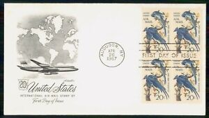 Mayfairstamps US FDC 1967 Blue Birds Block 20cents First Day Cover wwk_60225