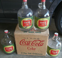1955 CASE of 4 Coca Cola 1 Gallon Syrup GLASS Bottles w/ COCAINE Removed Labels