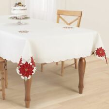 "ChRISTMAS PoINSETTIA OBLONG CuTOUT TaBLECLOTH CrEAM ReD GoLD GrEEN 60"" x 84"""