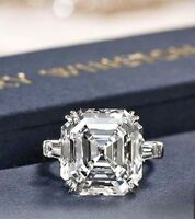 3.90Ct White Asscher Cut Diamond Halo Engagement Ring Solid 14K White Gold