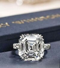3.70Ct White Asscher Cut Moissanite Halo Engagement Ring Solid 14k White Gold