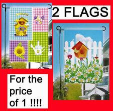 2 Lot-Garden Spring Mini Flags Bird House Flowers Butterfly ready for Flag Pole