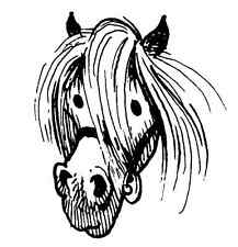 Pony Head - Thelwell pony float truck car sticker - Thell-05 (mirror image)