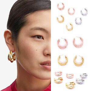 3 Row Hoop Chunky Large Drop Statement Boho Style Earrings ROSE GOLD SILVER Stud