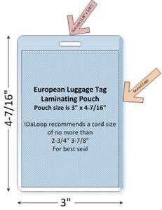 "European Luggage Tag Laminating Pouch, 100/pk, 3"" x 4-7/16"" (10 MIL)"