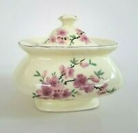 W.S. GEORGE Pink flowers Sugar Bowl Canarytone Lido & MOORMAN'S MFG Collectible