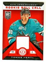 2013-14 Totally Certified ROOKIE ROLL CALL RELIC TOMAS HERTL RC San Jose Sharks