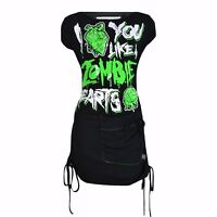 Cupcake Cult Zombie Hearts Dress Ladies Black Green Goth Emo Punk Clearance Sale
