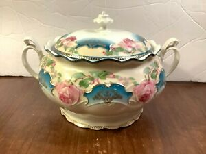 Vintage Porcelain Hand Painted Pink Roses Covered Gravy Sauce Tureen Handles
