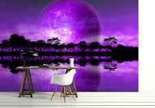 Foto Wallpaper Alien Planet Salón Mural De Pared 320x230cm púrpura Rising Moon