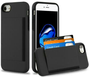 iPhone SE 2020 & iPhone 7/8 - Black Hybrid Credit Card Pocket Nonslip Case Cover
