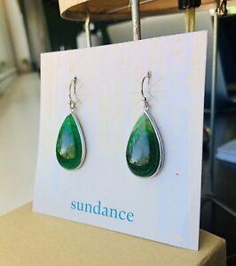 SUNDANCE Catalog Teardrop MOSS Agate Sterling Silver Earrings NEW $89