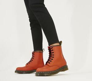 Dr. Martens 1460 Unisex 8 Eyelet Smooth Orange Ankle Boots UK 3 - UK 11