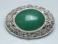 4 cm große 925 Silber Filigran Brosche mit echter Jade besetzt Handarbeit /A339