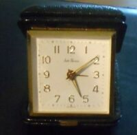 VINTAGE SETH THOMAS WIND-UP ALARM CLOCK WITH GENUINE LEATHER CASE