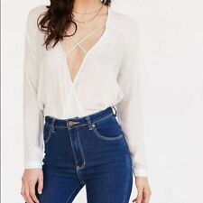 Urban Outfitters Silence Noise Criss Cross Blouse White/ Anthropologie