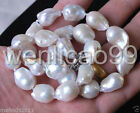12-16mm Genuine Natural White reborn keshi Baroque Pearl Jewelry Necklace 18""