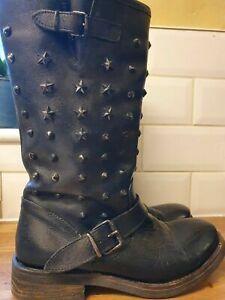 Ladies Black Leather Biker Boots Size 40 Goth punk star studded uk 7 Winter cozy