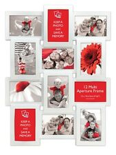 Multi Aperture Photo Picture Frame - Holds 12 X 6''X4'' Photos - White