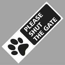 PLEASE SHUT THE GATE SIGN METAL DOG WEATHERPROOF DOOR GATE 75 X 200MM Black