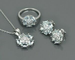 Natural Aquamarine Gemstone 925 Sterling Silver Ring Earring Necklace JewelrySet