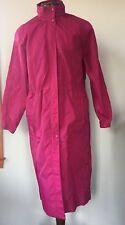 VTG Woolrich Womens Windbreaker Raincoat With Hood Long Trench Raspberry M