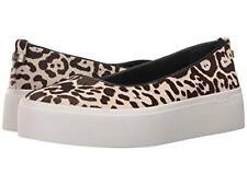 Calvin Klein Janie Calf Fur Leopard Spots Leather Slip-on Platform Shoes NEW Wms