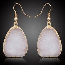 Natural White Quartz Gold Druzy Dangle Stone Earrings Triangle Rock Drop