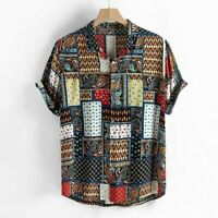 Mens Vintage Ethnic Style Print Blouse Loose Short Sleeve Stand Collar Shirt Top