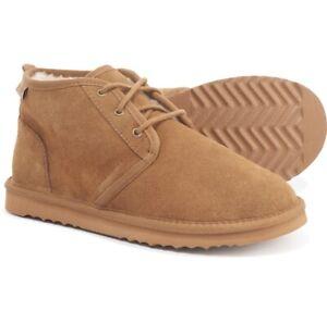 MINNETONKA Men's Original Barry Suede Cozy Boot Moccasin Slippers Cinnamon