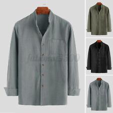 Men's Linen Long Sleeve Shirts Casual Button Down Formal Work Shirt Tops Blouse