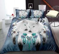 3D White Wolf ZHUB1048 Bed Pillowcases Quilt Duvet Cover Queen King Zoe