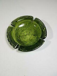 "Vintage Ashtray Mid Century Soreno Glass 6 1/4"" Green Anchor Hocking Round"