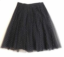 NWT J Crew Net-A-Porter Double Pleated Midi Skirt Flocked Tulle Black 12 F6765