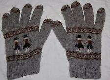 Vintage Peruvian Wool Womens Wrist Gloves Gray 8 Ethnic Tribal People Scene