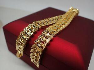 Men Jewellery 18K Yellow gold Filled Diamond cut Watch band men bracelet 8 inch