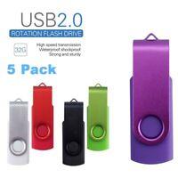5 Pack Lot Multicolor USB 2.0 32G Flash Drive Memory Stick Pendrive Thumb U-disk