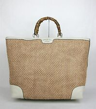 $1455 NEW Authentic GUCCI Top Handle Bamboo Straw Tote Beige Large 338964 8561