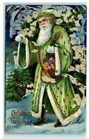 Postcard Christmas Greetings Green Robe Santa Claus *flaking, fair condition* N5