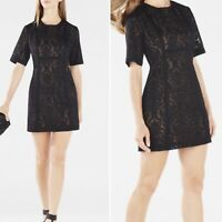 BCBG MAXAZRIA Black Lace Gladiator CEARA Mini Fitted Dress UK8 Short Slv Party