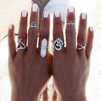 6X Vintage Boho Silver Stack Plain Above Knuckle Ring Midi Finger Rings Set Gift