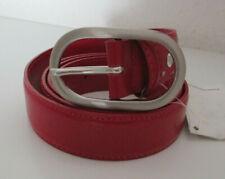 Gürtel in rot,  mit silberfarbiger Schnalle, 100 cm lang