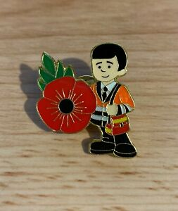 Royal Mail Post Man Red Flower Pin Badge Postman