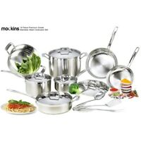 mockins 15 Piece Premium Grade Stainless Steel Cookware Set with Tri Ply Body